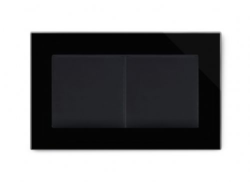RetroTouch Double Blank Plate Black Glass PG 00673
